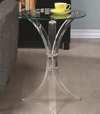 Modern Clear Acrylic base snack accent end table with round glass top