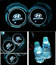2PCS LED Car Cup Holder Pad Mats for HYUNDAI Auto Atmosphere Lights Colorful