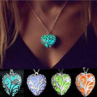 New Magical Fairy Glow in the Dark Heart  Pendant Locket CZ Luminous Necklace
