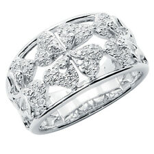 Wide 14K White Gold Pave Diamond Flower Floral Right Hand Cocktail Band Ring