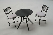 "Garden Table & Chairs Set  dollhouse miniature furniture 1/12"" scale EIWF539"