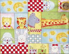 "Giraffe Lamb Bear Bunny Train ""BABY MOON"" Patch Cotton Fabric  BTY"
