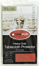 """Crystal Clear Vinyl Tablecloth Cover Protects Fabrics 54"""" x 54""""  Square"""