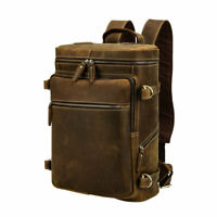 Men Leather Outdoor Backpack Weekend 15'' Laptop Bag School Bag Satchel Daypack