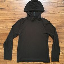 Lululemon Mens Tech Long Sleeve Hoodie Pullover size M Heathered Black Tweed Euc