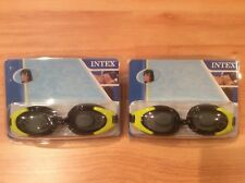 New listing 2 pairs of Intex Swim Goggles Ages 8+. Black/Yellow Polycarbonate Uv Protection