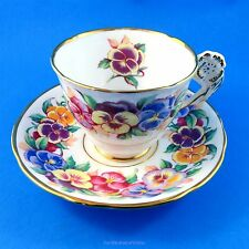 """Bright Floral Pansy Handle Royal Stafford """" Viola """" Tea Cup and Saucer Set"""