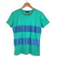 Jonathan Saunders Green Blue Glitter Stripe Cotton Stretch Top Tee TShirt S 8 10