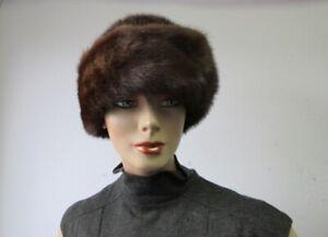 "Women's Sz 22"" Natural Dark Pastel Mink Fur Hat Mint"
