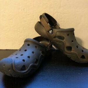 Crocs Swiftwater Brown Black Croclite Closed Toe Slingback Clogs Adjustable Sz 9
