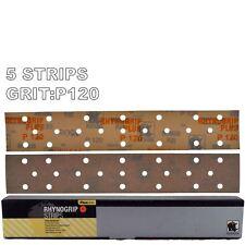 Rhynogrip Plusline 70x420mm P120 Grit 5x HookNLoop Grip Abrasive Sanding Strips