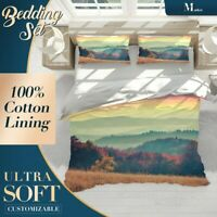 Autumn Forest Nature Mountain Brown Quilt Cover Set with 2x Matching Pillowcases