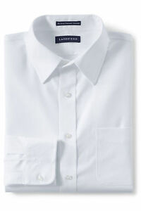 Lands'End Men's Slim Fit Solid No Iron Supima Pinpoint Straight Collar Whi 14H32