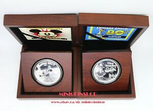 2014 Disney Mickey Mouse Steamboat Willie & Donald Duck 80th Anni Silver Coins
