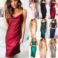 Ladies Satin Silk Slip Dress V Neck  Bodycon Midi Dresses Cocktail Party Evening