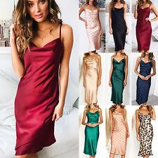 Womens Wet Look Satin Silk Midi Dress Strappy V-Neck Party Club Slip  Sundress c927d2ba7220