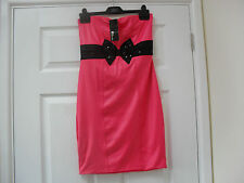 LADIES DRESS,by JANE NORMAN,BANDEAU STYLE,CORAL,BLACK BOW,SIZE 12,BNWT