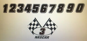 NASCAR FLAG AND NUMBER DECAL YOU CHHOSE NUMBER ITS A BUY 1 GET 1 FREE