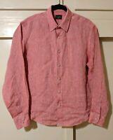 UNTUCKit Men's - Relaxed - Natural Red Linen - L/S Button Front Shirt - Medium