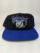 Vintage Tampa Bay Lightning Black Script 90s Snapback Hat NHL The Game