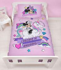 Disney Minnie Mouse Lilac Rainbow Unicorn Junior Cot Bed Duvet Cover Bedding Set