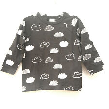 Size 6-9 Months - Nwt H&M Toddler Girls Gray Cotton Cloud Long Sleeve Tee Top