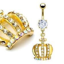 Bauchnabelpiercing Krone vergoldet mit Kristallen besetzt Banane Piercing