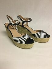 Nine West Breeze Women Open Toe Canvas Wedge Sandal US Shoe Size 9.5 Medium M,B