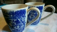 Pair ROYAL STAFFORD Burslem Old England mugs. Blue & White. Used