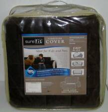 SURE FIT QUILTED VELVET DELUXE CHAIR COVER Pet Throw Chocolate Brown Seat
