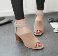 Women's Peep Toe Block High Heels Ankle Strap Sandals Party Casual Suede Shoes
