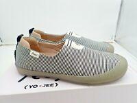 Yeoji Women's Black & White canvas Slip On Sneaker Shoes 6 -11 removable outsole