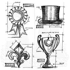 Tim Holtz Rubber Stamps, High Society Blueprints, Fleur De Lis, Top Hat, Rosette