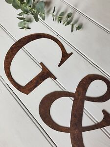 Rusty Metal Alphabet Letters Numbers @ & Wall Hanging Garden Kitchen Short 15cm