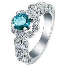 Fashion Women 925 Silver 0.7CT Sapphire Topaz Wedding Engagement Ring Size 8