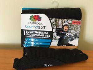 New Fruit of The Loom Boys Thermal Underwear Set Beyond Soft Black