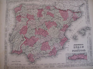 Hand Colored Map Johnson's Atlas Spain Portugal Lisbon Barcelona Gibraltar 1863