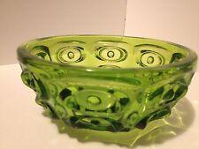 VINTAGE EMERALD GREEN GLASS THUMBPRINT BOWL CANDY DISH