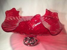 Beautiful Large Art Glass Dish/Centrepiece With White Metal Base (ref W942)