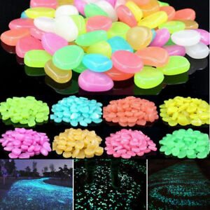 100-1000Glow in the Dark Pebble Stone Shiny Home Garden Aquarium Fish Tank Decor