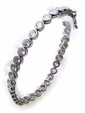 Ladies Tennis Bracelet Genuine Silver 925 Zirconia 5,3 mm Wide Sterling NEW