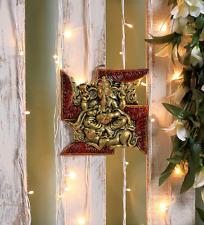 Ganesha Wall Hanging Statue Ganesh Figurine Ganpati Om Hindu God Metal Panel