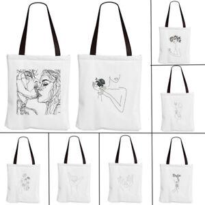 New Geometric Face Eco Canvas Shopping Bag Foldable Shoulder Tote Shopper Bags