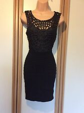 Stretch Fitted Black Lace Short Dress Bodycon Size Small 6 8 Party New