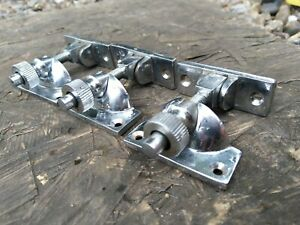 SASH WINDOW LOCKS LATCH METAL CHROME SPRUNG ARM CASH & PLATE SET OF (3 THREE