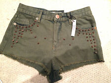 Topshop shorts with studs - spikes size 6 karki green new high waisted