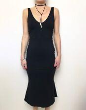 sexy KOOKAI black kick flip hem body con midi length dress sz 2 (10-12) stretch