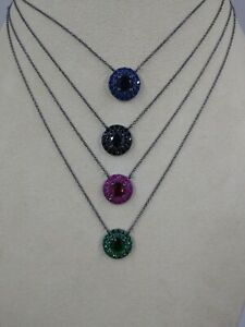 Simulated Double Halo Pendant and Chain, Black Rhodium Plated