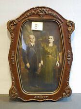 Antique Gesso Wood FRAME w/ CONVEX Bubble Glass & carved CROWN **lovely** B