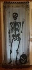 HERITAGE LACE BLACK HALLOWEEN SKELETON DOOR/CURTAIN PANEL A9